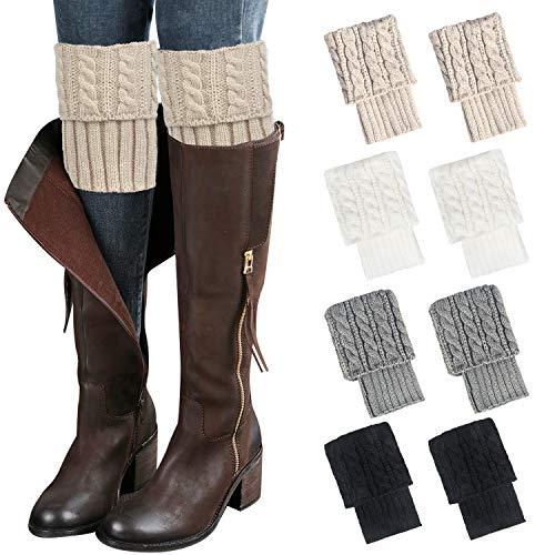 Loritta 4 pares de calcetines de invierno para mujer, cálidos, de ganchillo, para botas de punto, calcetines cortos, calentadores de pierna - rojo - Large