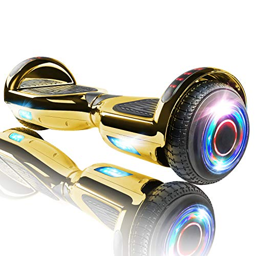 XPRIT Hoverboard w/Bluetooth Speaker, UL2272 Certified (Chrome Gold)