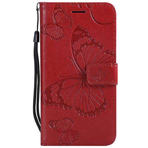 DENDICO Cover Galaxy J3 2016, Pelle Portafoglio Custodia per Samsung Galaxy J3 2016 Custodia a Libro con Funzione di appoggio e Porta Carte di cRossoito - Rosso