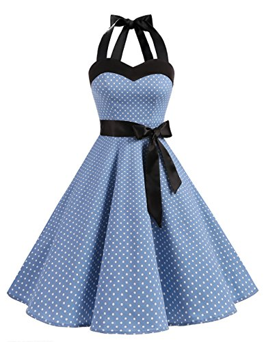 DRESSTELLS Karneval Kleidung und Kostüme Rockabilly 1950er Polka Dots Punkte Vintage Retro Cocktailkleid Petticoat Faltenrock Blue Small White Dot M