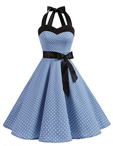 DRESSTELLS Neckholder Rockabilly 1950er Polka Dots Punkte Vintage Retro Cocktailkleid Petticoat Faltenrock Blue Small White Dot M