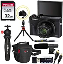 Canon G7 X Mark III Bloggers Bundle with Ring Light, Transcend 32GB Memory Card, Tripod, Microphone, Lens Cleaning Pen, Card Reader, Camera Bag, and HDMI Cable
