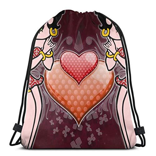 fgjfdjj L Love Betty Boop Bolsas de cordón Ajustables Mochila Bolsa de Gimnasio Ligera para Hombres Mujeres Deportes al Aire Libre