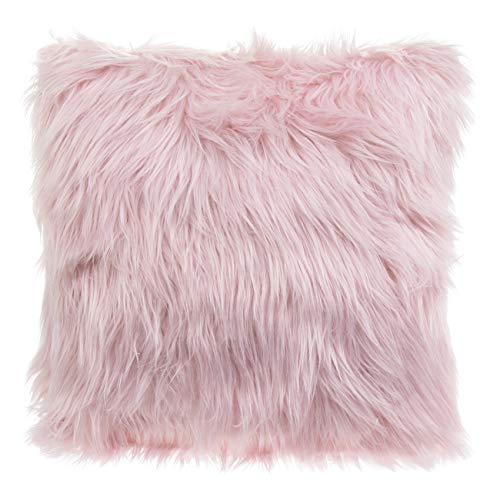 Ravali Furry Faux Mongolian Fur Long Pile Hair Filled Cushion Scatter Decor (Blush Pink)