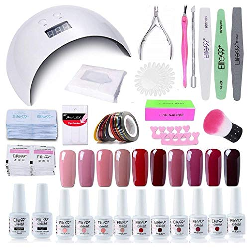 Elite99 Smalto Semipermanente per unghie Kit di Partenza in 10 coloris Gel 24 W LED Lampada UV Nail Dryer Soak Off Topcoat Basecoat Nail Art Tool Set di Adesivi per Manicure Set per Manicure 8ML C011