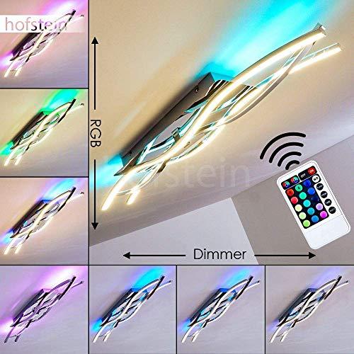 LED Deckenleuchte Hanko, längliche Deckenlampe aus Metall in Chrom, 20 Watt, 1400 Lumen, 3000 Kelvin, dimmbare Leuchte mit RGB Farbwechsler u. Fernbedienung im Wellendesign