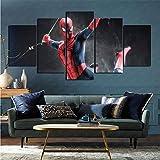 Flat Artist Canvas Set de 5 Piezas Comic Spider-Man Imagen Foto Página de Inicio para decoración del hogar 100x200cm (Sin Marco)