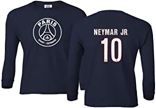 Spark Apparel Paris Soccer Shirt #10 Neymar Jr. Boys Girls Youth Long Sleeve T-Shirt