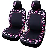 Leader Accessories 2pcs Butterfly Pink Car Seat Covers for Women Fit Most Vehicle, Cars, Sedan, Truck, SUV, Van