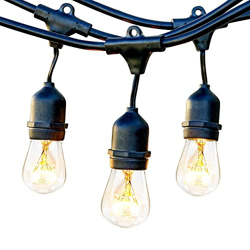 Brightech Ambience Pro Commercial Grade Outdoor Light Strand with Hanging Sockets - 24 Ft - Black(Renewed)