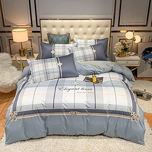 funda de edredón de 105-Punto de algodón Lavado de agua Seda Gran versión de la ropa de cama de impresión Reino especial Down Set Individual cama doble de una sola almohada regalo-J_1,8 m de cama (4