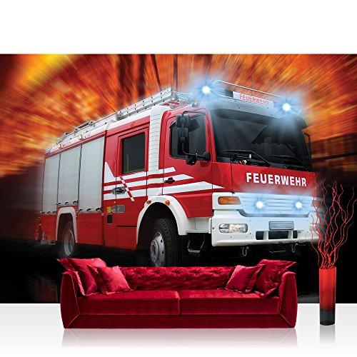 Fototapete 368x254 cm PREMIUM Wand Foto Tapete Wand Bild Papiertapete - Autos Tapete Feuerwehr Feuerwehrauto Auto Blaulicht rot - no. 2242