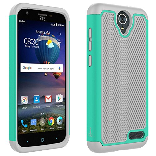 CoverON HexaGuard Series for ZTE ZMax 3 Case, ZTE ZMax Champ Case, ZTE Zmax Grand Case, ZTE Grand X3 Case, ZTE Avid 916 Case, Protective Hard Hybrid Phone Cover - Teal/Gray