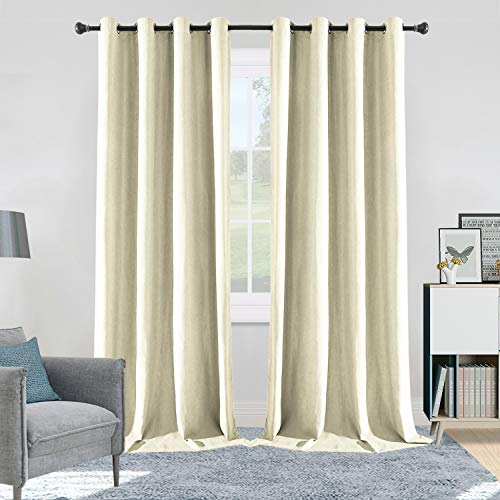 ALLJOY Living Room Curtains Panels Extra Long, Soft 2 Pack Room Dark Curtains Panels Thermal Insulated Window Drapes for Bedroom Wide Window Drape Grommet Dining Room Curtain, W52 x L96 Inch, Ivory