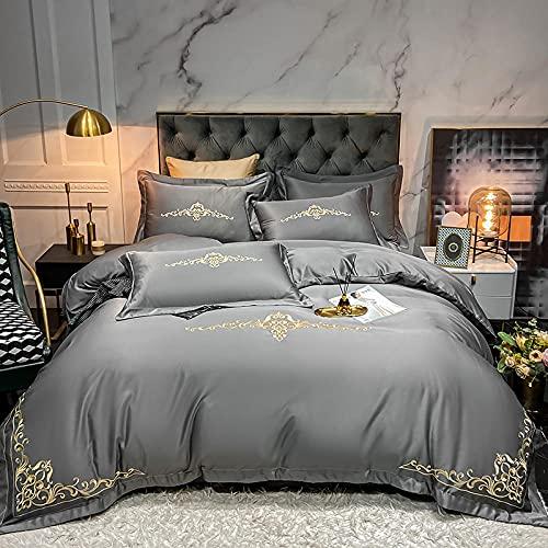 Seda de hielo Bordado de la seda cubierta de la cubierta nórdica de la sábana, 4 unids Conjunto de ropa de cama Super Soft King King Queen Tamaño de seda Edredón de seda Ropa de cama Edredón Conjunto