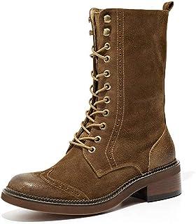 LEFT&RIGHT Zapatos De Mujer Martin botast botas para Mujer Zapatos De Tobillo Martin Blandos para Mujer botas con Cordones Femeninas botas De Motocicleta Retro