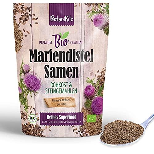 Bio Mariendistelsamen fein gemahlen, Für die gesunde Leberfunktion - 100% organisches Silymarin, Premium Rohkost und absolut frei von Zusätzen, Mariendistel Samen Pulver, BotaniKils