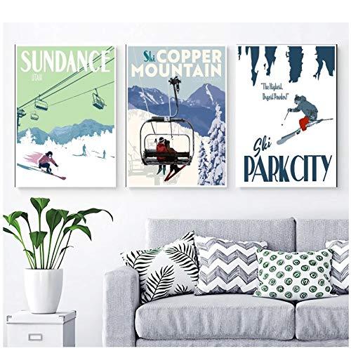 Mxsnow Ski Getaway Posters Sundance Poster, Park City Poster, Copper Mountain Poster, Ski Posters,Art Poster Canvas -50X70Cmx3Pcs -No Frame