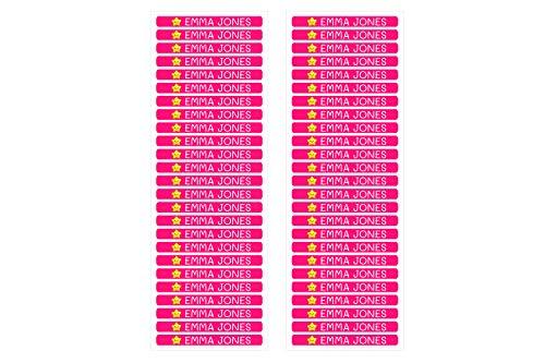 50 personalisierte Minis-Klebeetiketten zur Kennzeichnung von Objekten, Stiften, Stiften usw. Abmessungen 4,2 x 0,5 cm. Color Fuchsia