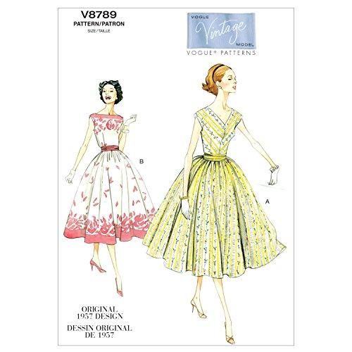 VOGUE PATTERNS V8789 - Patrones de Costura para Vestidos con fajín de Mujer (Tallas 34 a 42)