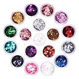 Holographic Chunky Glitter Set, FITDON 12 Colors Face Body Eye Hair Nail Festival Makeup Glitters & 6 Jars Butterfly Star Heart Glitter Sequins