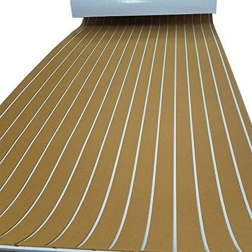 RANZIX Braun Rutschsichere Eva Schaum Bodenbelag, Teak-Yacht-Bodenbelag Fußboden für Boot Marine Yacht Schiff RV Teppichboden 240cm*90cm*6mm (golden with White Stripes)