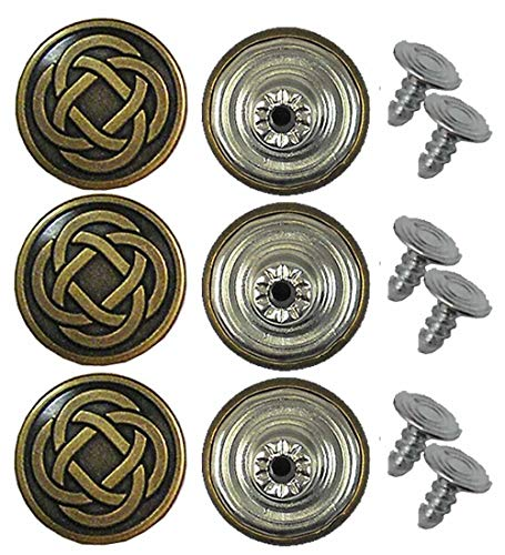 Duble 20 mm No-Sew Celtic Knot Jean Tack Buttons CT. 6 (Brass)