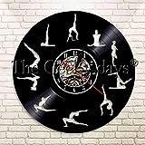 FDGFDG Posturas de Yoga Mantenga el Equilibrio Reloj de Pared de Vinilo Vegan Sport Zen Meditación Reloj de Pared Arte Reloj de Pared Moderno