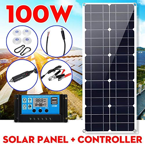 HJG 100W Solar Panel Kit with10A Solarladeregler Kfz-Ladegerät für RV-Auto-Boots-LCD-Display PWM-Controller