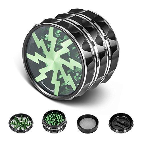 icxox Grinder Pro 63mm 4 Pezzi Nuovo Design Alluminio Premium Spezie Erbe Grinder con Polline Catcher & Spazzola per La Pulizia (Verde)