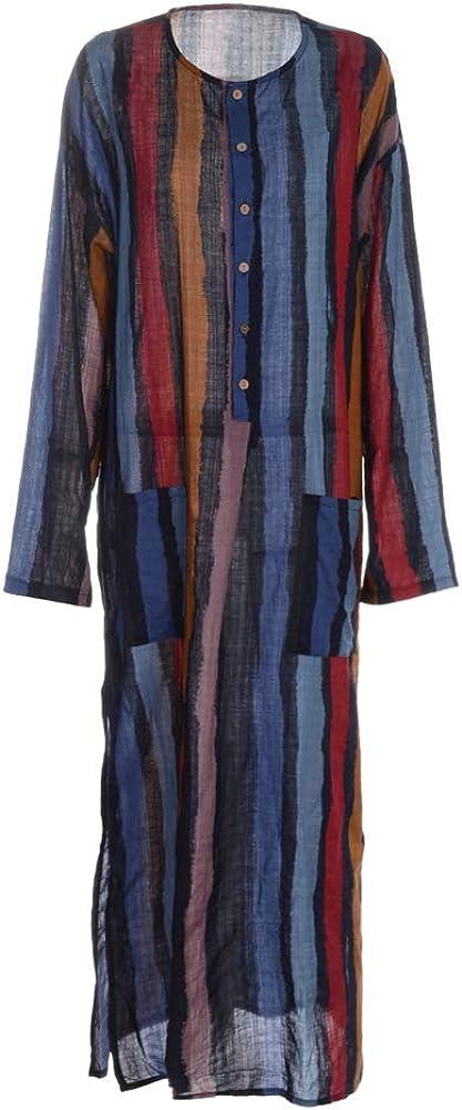 mlpeerw Muslim Dresses for Men Long Sleeve Striped Henleys Shirt Kaftan Thobe Robe Gown Muslim Clothing