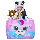 Beinou Puf con diseño de unicornio, color arcoíris, para sala de estar, sofá reclinable, silla de juego, almacenamiento de terciopelo para niños y niñas, 61 x 61 cm, solo funda