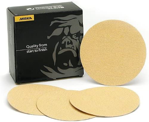 """2021 Mirka 23-332-150 high quality 5"""" Bulldog Gold (No-Hole) outlet online sale 150 Grit PSA Sanding Discs - 100 Discs per Box online sale"""