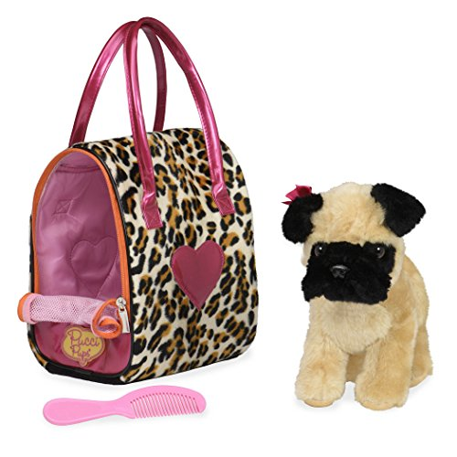 Pucci Pups by Battat Leopard Print Plush Bag and Pug, Pug & Leopard Bag