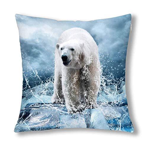 HZLM Funda de cojín con cremallera de 45 x 45 cm, diseño de oso polar blanco