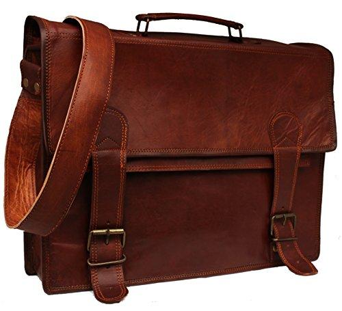 Handmadecraft Classic Messenger Satchel de cuero portátil maletín de cuero bolsa de mensajero de cuero