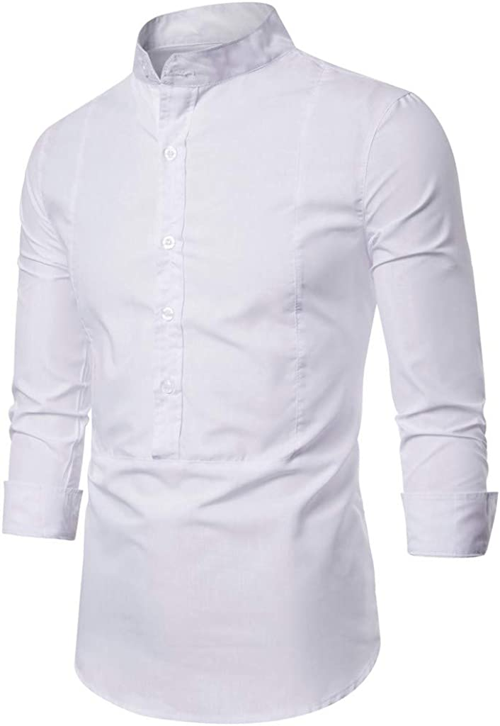 Men's Long Sleeve Slim Fit Stand Collar Casual Button Down Dress Shirt Tops