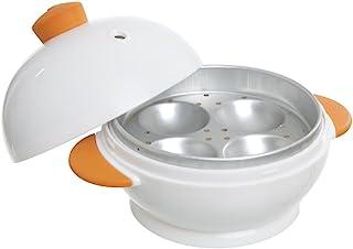 MSC International 50986 4 Boiler Joie Big Boiley Microwave Egg Cooker, A, White with orange handles