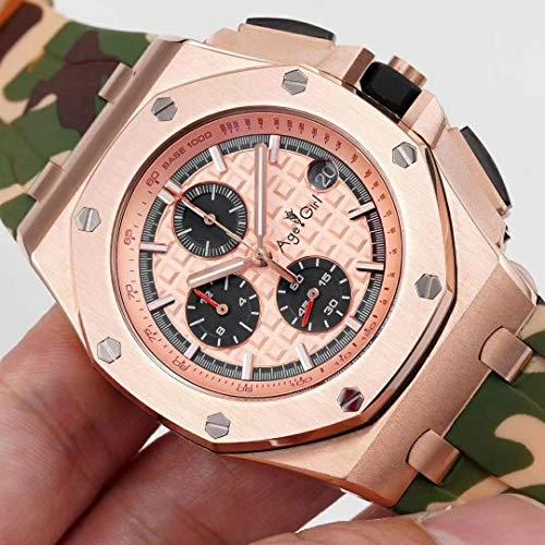 SCGDSB Orologi Nuovi Uomo cronografo Zaffiro Acciaio Inossidabile Camuffamento Gomma Oro Rosa Argento cronometro Luminoso Verde 1