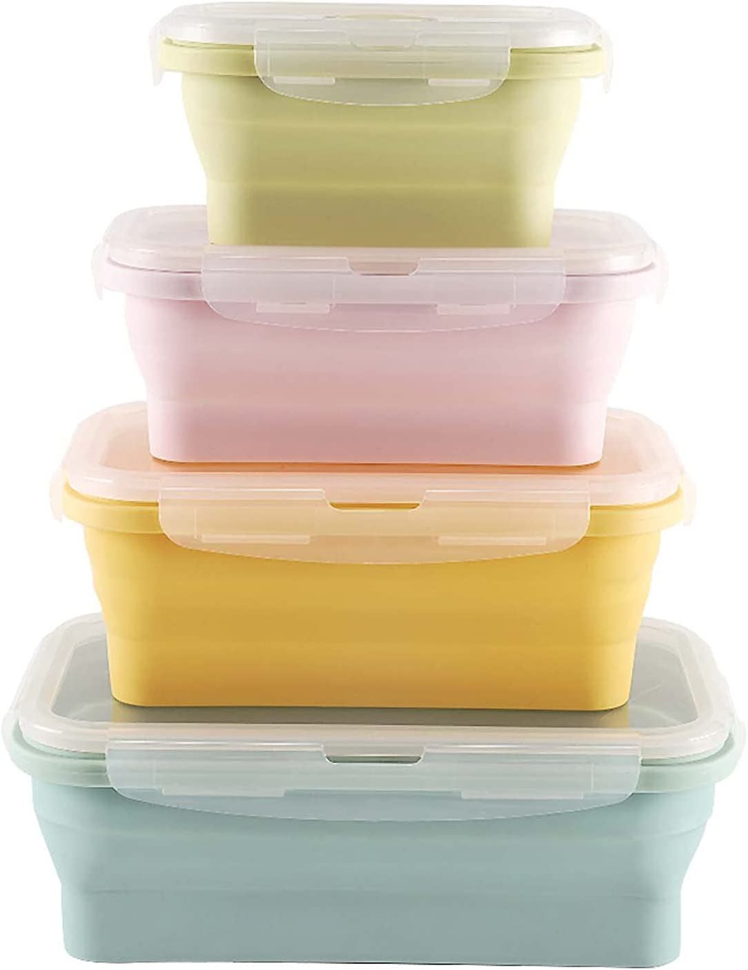 GUOYAJF 5 ☆ very popular Max 41% OFF 4 Pack Collapsible Plastic Storage Food with Containers