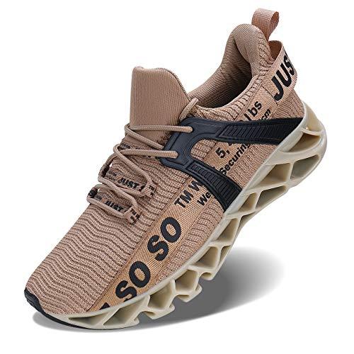 Lingmu Herren Laufschuhe Turnschuhe Fitness Straßenlaufschuhe Sneaker Atmungsaktiv rutschfeste Mode Lässig Sportschuhe, Champagner, 46 EU