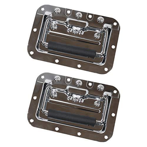 HMF 14992-09 Klappgriff 2er Set | Einbauschale | Gefedert | 16 x 10,7 cm | Silber
