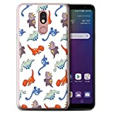 Phone Case for LG Stylo 5 Cartoon Dinosaurs Assorted Dino Mix Design Transparent Clear Ultra Soft Flexi Silicone Gel/TPU Bumper Cover