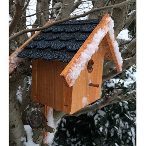 Darlux Massivholz-Nistkasten Brutstätte für kleinere Singvögel aus Holz Braun/Blau
