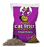 Cj's Premium Cat Litter Ultra Absorbent Wood Pellets Biodegradable 100% Virgin Wood Soft Animal Antimicrobial Litter and Bedding For Pets - 30 Litre