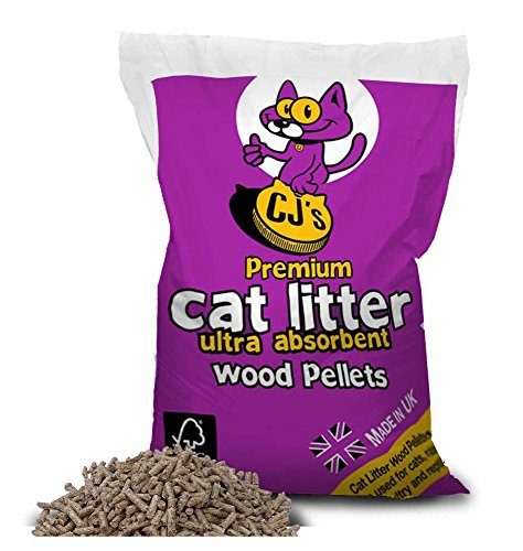 Cj s Premium Cat Litter Ultra Absorbent Wood Pellets Biodegradable 100% Virgin Wood Soft Animal Antimicrobial Litter and Bedding For Pets - 30 Litre
