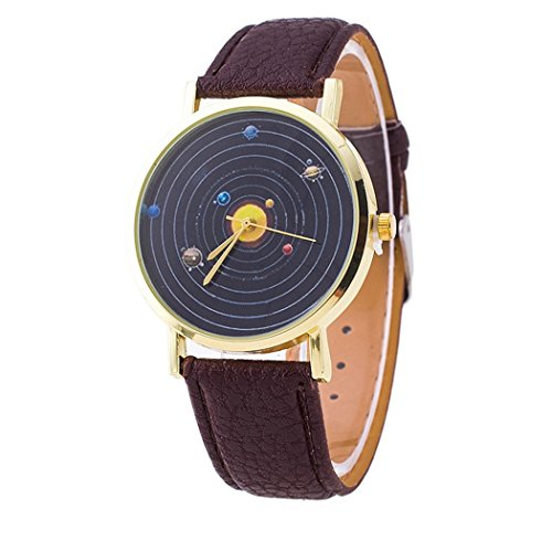 Vavna Top New Unisex Student Solar System Print Quartz Women's Leather Wrist Watch - Brown Gold