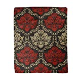 Adowyee 50x60 Inch Soft Decor Throw Blanket Pattern of Red and Beige Colors on Black in The Style Baroque Islam Arab Ornament Warm Cozy Flannel Bed Blankets for Home Sofa Couch Chair Living Bedroom