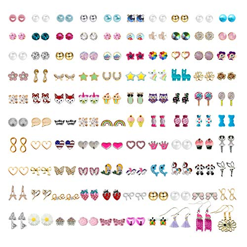 NEWITIN 100 Pairs Colorful Cute Stud Earrings Hypoallergenic Earrings Stainless Stainless Steel Earrings for Girls and Women