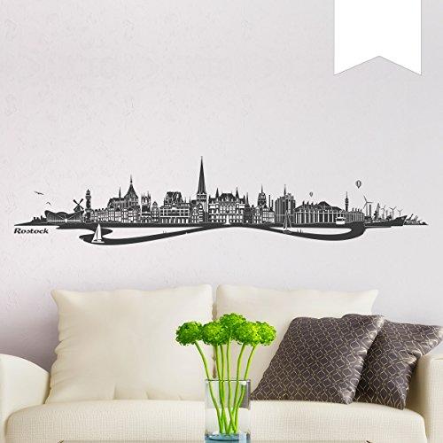 WANDKINGS Wandtattoo Skyline Rostock mit Fluss 100 x 19 cm - Weiß - 35 Farben zur Wahl